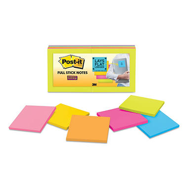 "Post-it Super Sticky Full Adhesive Notes - Assorted Bright Colors - 3"" x 3"" - 12 pk."