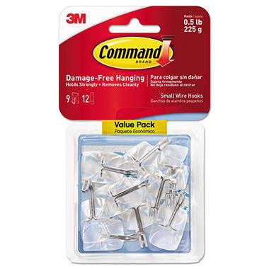 Command - Clear Hooks & Strips, Plastic/Wire, Small -  11 Hooks & 14 Adhesive Strips/Pack