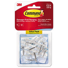Command™ Hooks, Small, .5lb Capacity, Clear Plastic/ Metal Wire, 9 Hooks & 12 Adhesive Strips