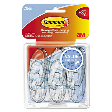Command™ Hooks, Medium, 2lb Capacity, Clear, 6 Hooks & 12 Strips
