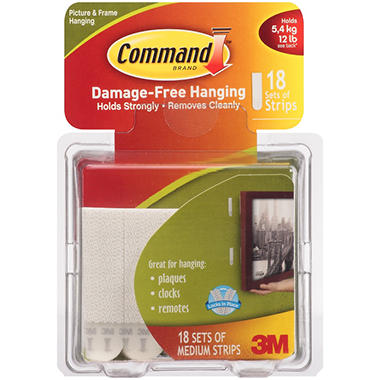 3M Command Medium Picture Hanging Strips - 18 Pack