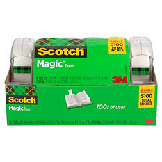 "Scotch Magic Tape with Refillable Dispenser - 3/4"" x 850"" - 6 Rolls"