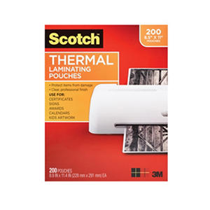 Scotch Thermal Laminating Pouches, 3 mil, Letter, 200ct.