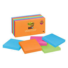 "Post-it Notes Super Sticky, 3"" x 3"", Rio De Janeiro Color Collection, 14 Pads, 1,260 Total Sheets"