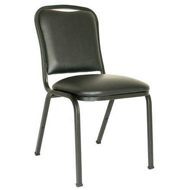 MGI - Commercial Vinyl Stack Chair, Black - 4 Pack