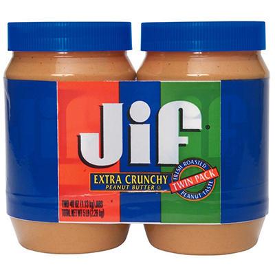 Jif® Extra Crunchy Peanut Butter - 2 jars - 40 oz. each