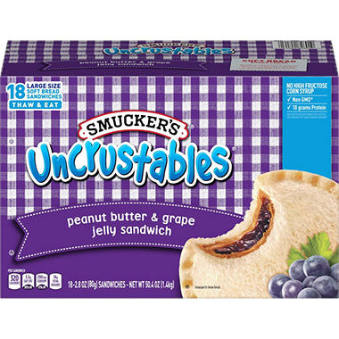 Smucker's Uncrustables Peanut Butter & Grape Jelly Sandwiches - 50.4 oz. - 18 ct.