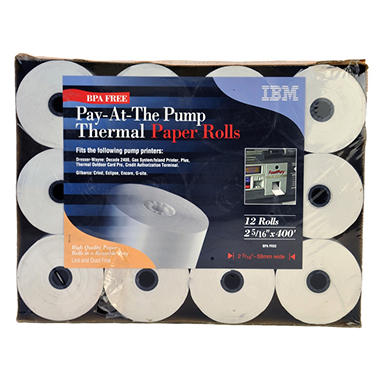 Pay-At-The Pump Thermal Paper Rolls - 12 ct.