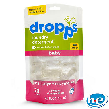 Dropps - Baby Laundry Detergent Pacs, Scent, Dye + Enzyme Free - 60 Loads