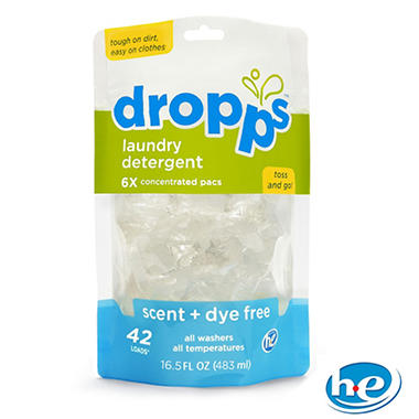 Dropps - Laundry Detergent Pacs, Scent + Dye Free - 84 Loads