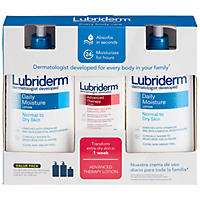 Lubriderm Daily Moisture Lotion (24 fl. oz., 2 pk.) & Advanced Therapy Lotion (6 fl. oz. Travel Size)
