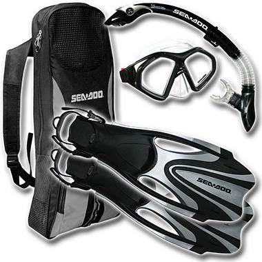Sea Doo Mask, Snorkel & Fins - Black