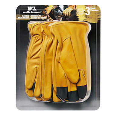 Wells Lamont Grain Leather Glove - 3 pk. - Medium