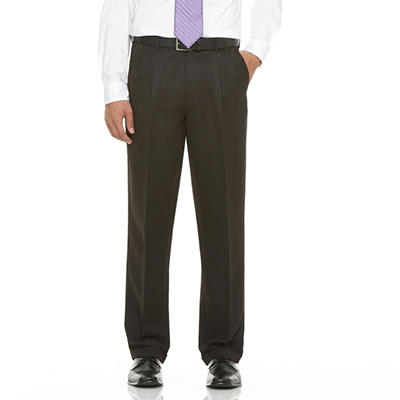 Mens Microfiber Expander Black Dress Slacks