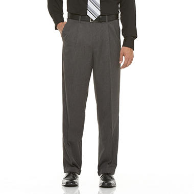 Mens Microfiber Expander Charcoal Dress Slacks