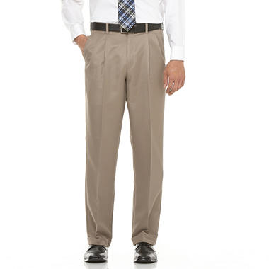 Mens Microfiber Expander Khaki Dress Slacks