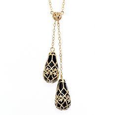 Black Onyx Fleur De Lis Necklace in 14k Yellow Gold