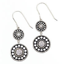 Click here for Sterling Silver Double Diamond Drop Wire Earring prices