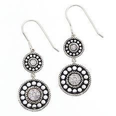 Sterling Silver Double 0.10 ct. t.w. Diamond Drop Wire Earrings (H-I, I1)
