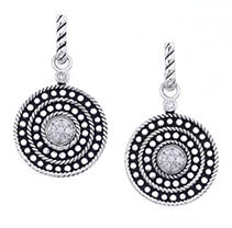 Click here for Sterling Silver & Diamond Circle Drop Wire Earring prices