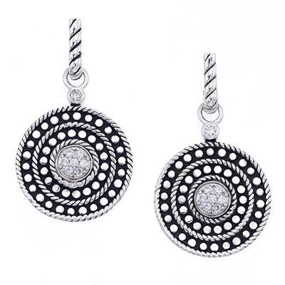 Sterling Silver & 0.19 ct. t.w. Diamond Circle Drop Wire Earrings (H-I, I1)