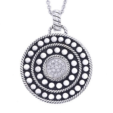 Sterling Silver Circle Shape 0.18 ct. t.w. Diamond Pendant (H-I, I1)