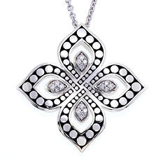 Fancy Design Sterling Silver Pendant with 0.16 ct. t.w. Diamonds (H-I, I1)