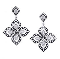 Click here for Fancy Design Sterling Silver and Diamond Earring prices