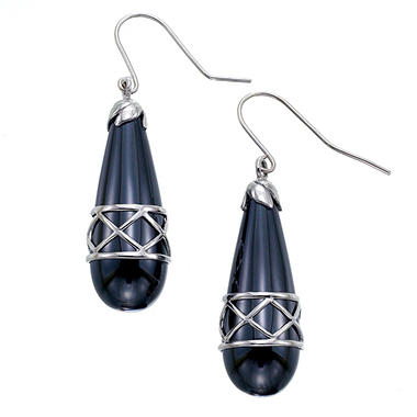 "14k White Gold ""X "" Design Wire Earrings with Hematite"