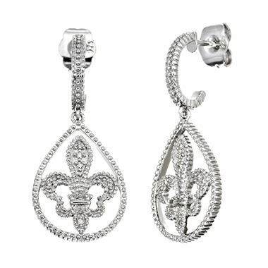 Fleur De Lis Diamond Accent Milgrain Dangle Earrings (I, I1)
