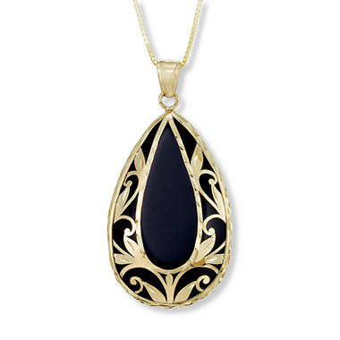 Black Onyx and Gold Diamond Cut Leaf Pendant in 14K Yellow Gold