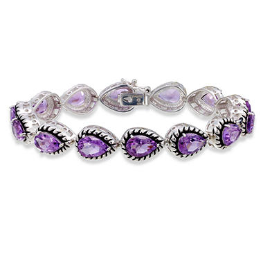 Amethyst Bracelet in Sterling Silver with Blackened Finish