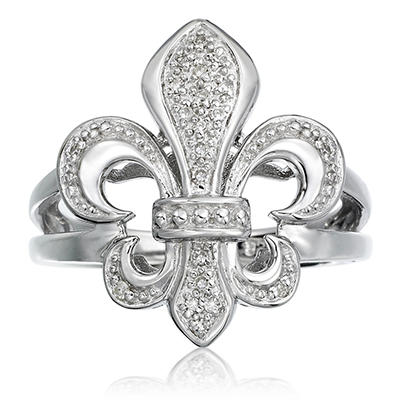 0.10 CT. T.W. Diamond Fleur De Lis Ring in Sterling Silver (H-I, I1)