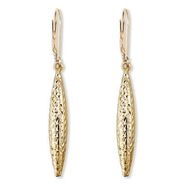 Diamond Cut Leverback Drop Earrings in 14K Yellow Gold