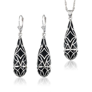 Diamond Cut Sterling Silver Black Onyx Pendant & Earring Set