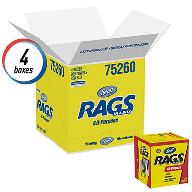 Scott - Rags in a Box, 10 x 12, White (200/Box, 8 Boxes)