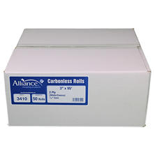 "Alliance 2-Ply Carbonless Receipt Rolls, 3""x95', White/Canary, 50 Rolls"