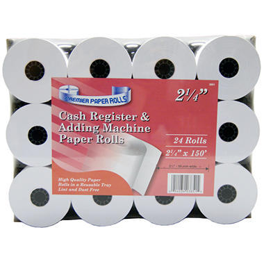 "Premier Cash Register & Adding Machine Paper Rolls - 2.25"" x 150' - 24 ct."