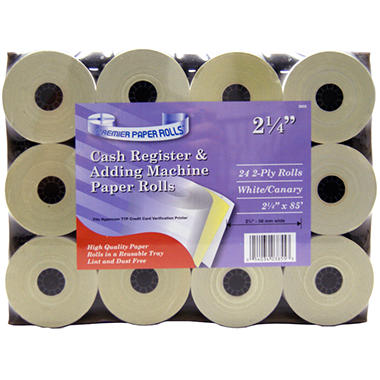 "Premier Cash Register & Adding Machine Paper Rolls - 2 Ply - 2.25"" x 85' - 24 ct."