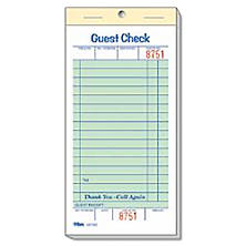 "Alliance 1-Part Guest Checks, 3.4"" x 6.75"", 16-lines, Green, 100 Checks, 50 Books"