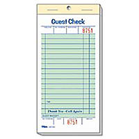 "Alliance 1-Part Guest Checks, 3.4"" x 6.75"", 16-lines, Green, 50 Checks, 50 Books"