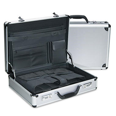 "Bond Street, Ltd. - 5"" Attaché Case, Aluminum, 18""W x 5""D x 13-1/2""H - Black/Silver"