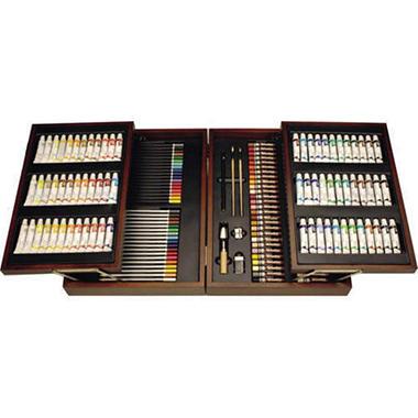Art Set w/ 2 Tier Wooden Case - 168 pc.