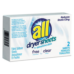 All Free Clear Vend Pack Dryer Sheets, Fragrance Free, 2 Sheets/Box (100 ct.)