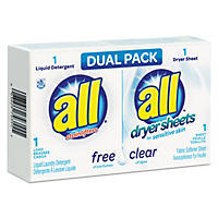 All Free Clear HE Liquid Laundry Detergent/Dryer Sheet Dual Vend Pack (100 ct.)