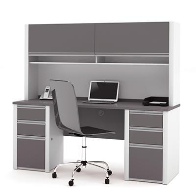 Bestar - OfficePro 93000 Credenza & Hutch kit - Slate & Sandstone