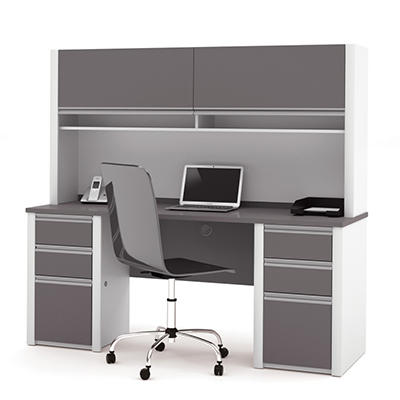 Bestar - OfficePro 93000 Credenza & Hutch kit - Slate & Sandstone