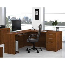 Bestar Embassy OfficePro 60000 2-drawer L-Shaped Desk, Tuscany Brown