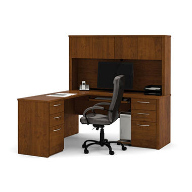 Bestar Embassy OfficePro 60000 U-Shaped Desk, Tuscany Brown