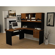 Bestar Innova HomePro 92000 L-Shaped Desk, Tuscany Brown/Black